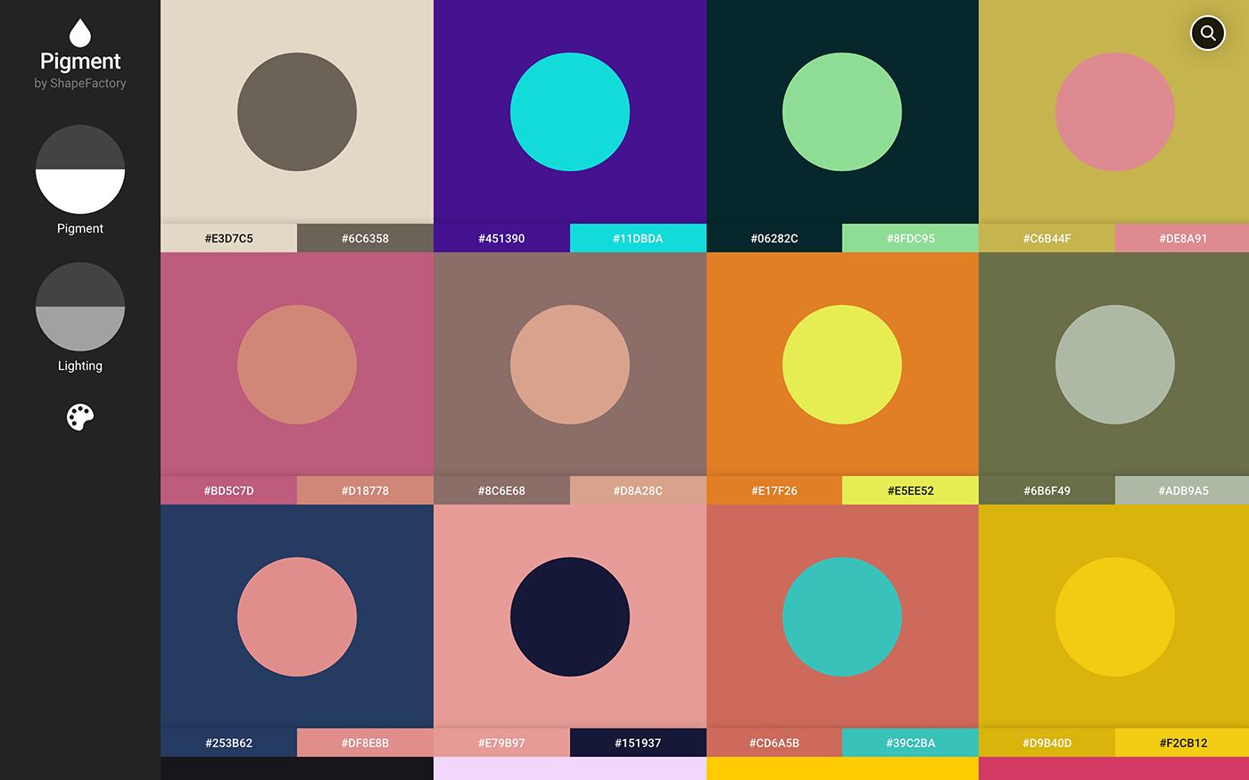 カラーパレット配布サイト「Pigment - Simple Color Palette Generator」